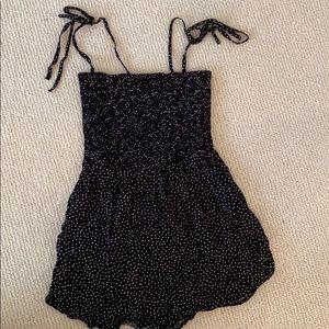 Polka dot mini rhomper with shoulder ties!